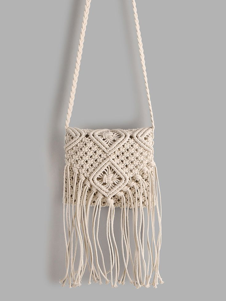 Shop White Tassel Detail Straw Crossbody Bag online. SheIn offers White Tassel D…