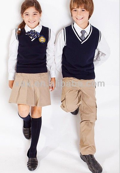 British style customized kids school uniforms/ winter school uniform/school uniform vest