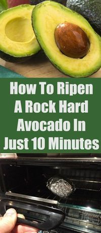What you do: Wrap the whole fruit in tinfoil and set it on the baking sheet. Pop it in the oven at 200 degrees fahrenheit for ten minutes, or until the avocado is soft (depending on how hard it is, it could take up to an hour to soften). Remove it from the oven, then put your soft, ripe avocado into the fridge until it cools. #cookingtips&hacks