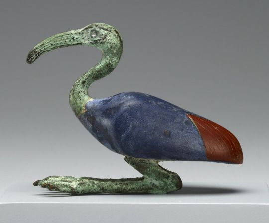 Statuette of an Ibis Made in Egypt, 3rd century B.C. - 1st century A.D. Glass and bronze, 6.3 x 8 cm (2 ½ x 3 1/8 in.) Source: The J. Paul Getty Museum
