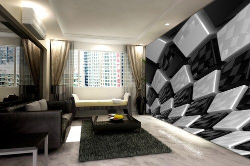 Op art Wall Mural In Black And White Printed On Stretch