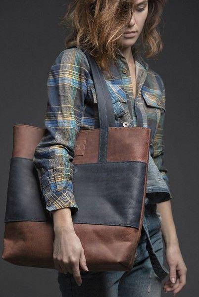 Dámská kožená kabelka - hnědá / modrá