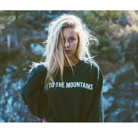 - Off to the Mountains Sweatshirt - Available in Black - Available in sizes S, M, L - Printed in the USA - Unisex, Oversized fit