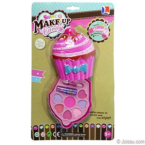 CUPCAKE MAKEUP SETS. With eye shadow, lipstick and a double-tipped applicator, these big makeup kits will delight any junior fashionista. For ages 5 years and up. Each blister carded.  Size 5.5 X 3.5 Inches, packaging 12 X 7.5 Inches