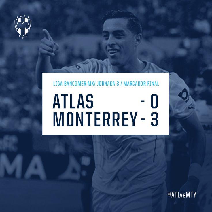 ¡Finaliza el encuentro! Marcador: Atlas FC 0- 3 Club de Futbol Monterrey  Gracias por apoyarnos #EnLaVidayEnLaCancha.  Próximo partido el 11 de agosto vs. Club Pachuca Tuzos a las 21:00hrs.