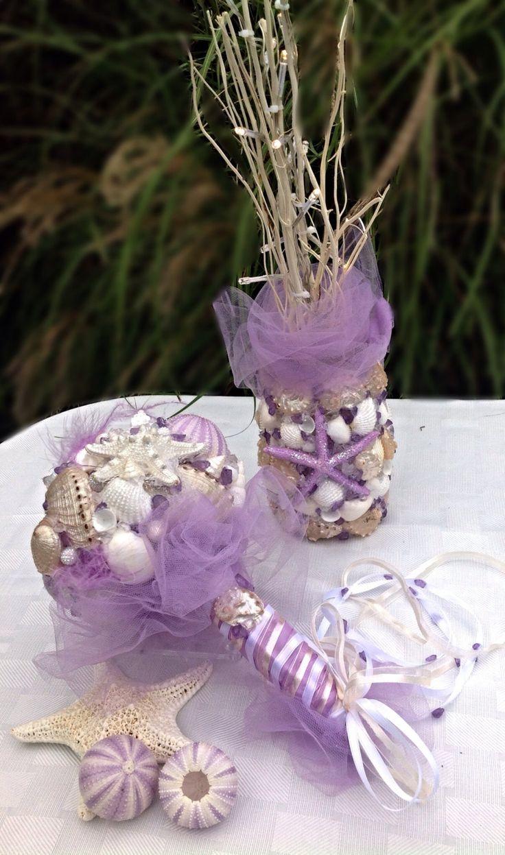 Lavender Seashell Wedding Bridal Set Sea Shell Starfish Decor Beach