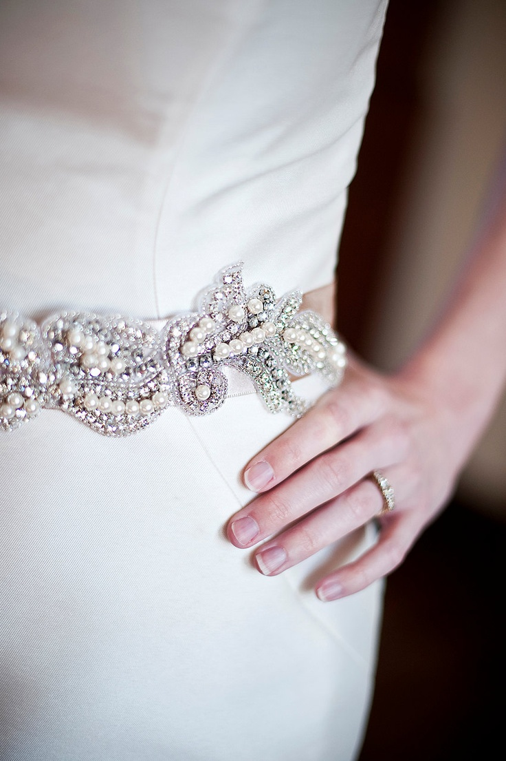 Swarovski Crystal Bridal Sash Belt w pearls