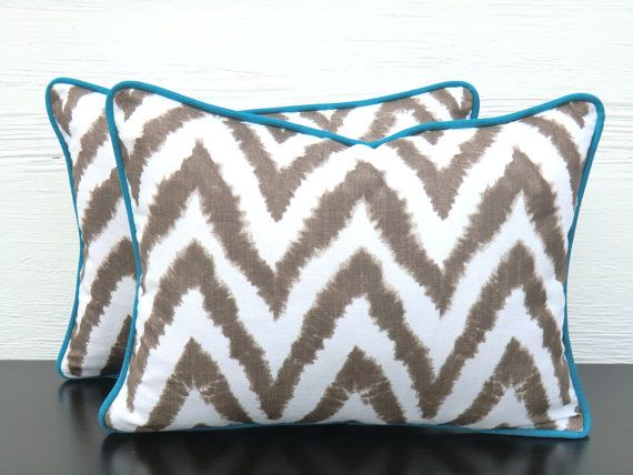 Brown chevron pillow cover chevron lumbar cover with teal piping by anitascasa, $27.00