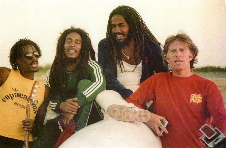 Jacob Miller, Bob Marley, Junior Marvin & Chris Blackwell
