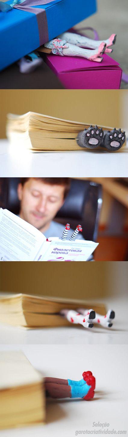 Link: http://www.garotacriatividade.com/2011/12/30/enfiado-nos-livros-marcadores-de-pagina-criativos/