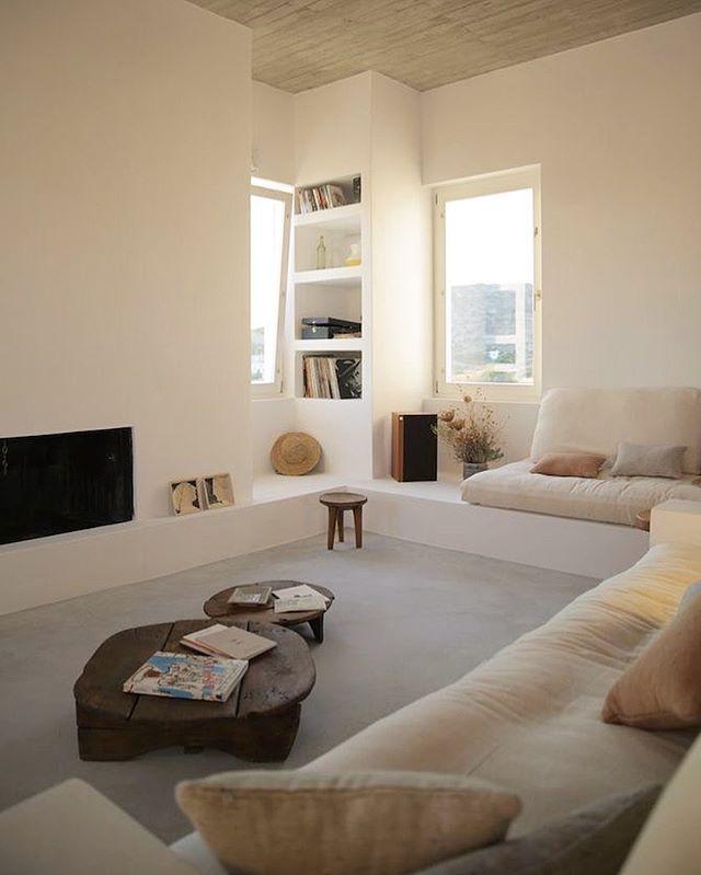 Un salon tout blanc très cosy et cocooning !