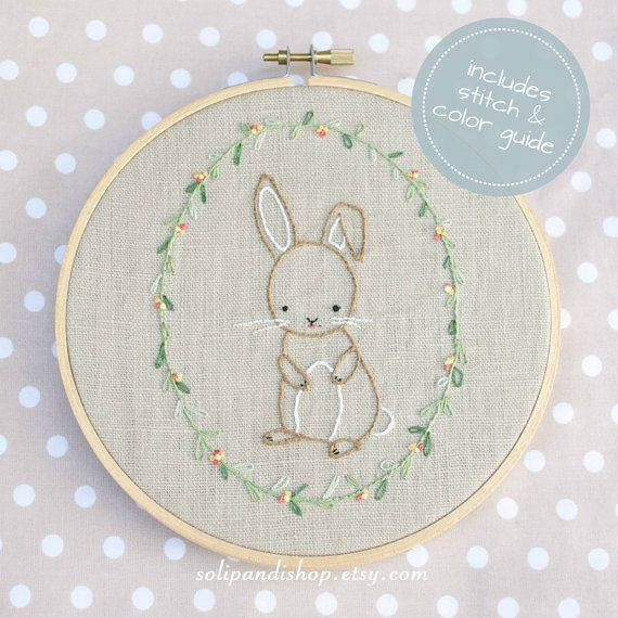 Little Bunny is a pattern for hand embroidery. It's perfect on a pillow, blanket, tea towel, shirt or embroidery hoop frame. This little bunny is