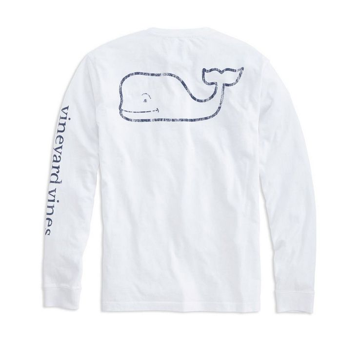Vineyard Vines Long-Sleeve Vintage Whale Graphic Pocket T-Shirt in White Cap