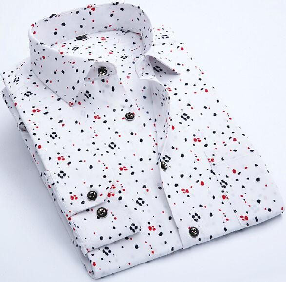 SAROUYA Print Men Shirt Long-sleeve Slim Fit Casual Shirts Fashion Brand Clothing Casual Camisa Masculina Floral Dress Shirt