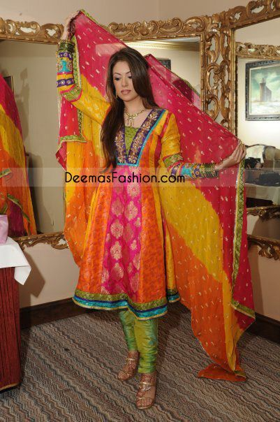 Latest pakistani bridal mehndi wear multiple color jamawar frock