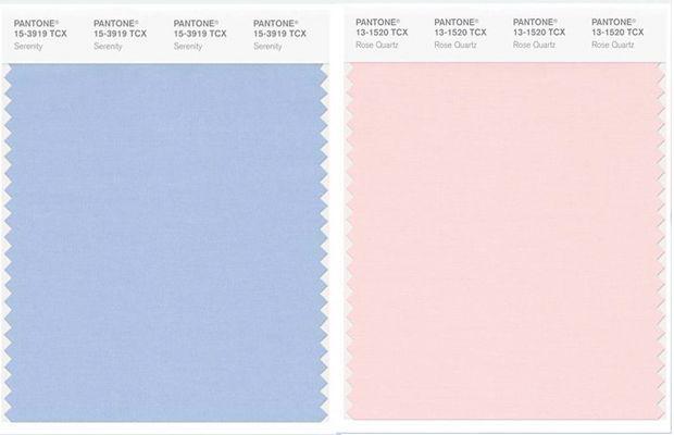 As cores do ano de 2016 segundo a Pantone: Quartzo Rosa e Serenidade;