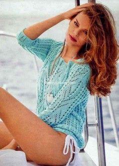 Пуловер ажурными узорами Размер: 34/36 (38/40) 42 http://shemyuzorov.com/page/pulover-azhurnymi-uzorami-1