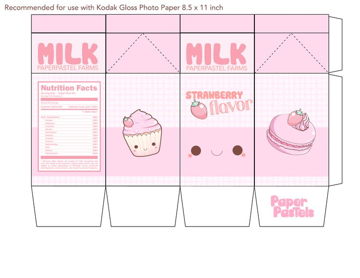 milk carton printable box - Google Search