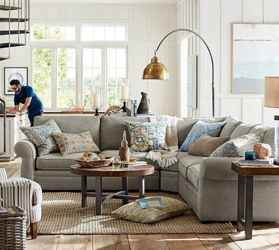 Pearce Upholstered 3 Piece L Sectional With Wedge Pottery Barn Living Room Rustic Industrial Living Room Farmhouse Style Living Room