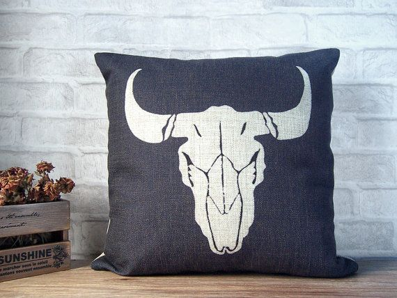 Black linen pillow with bull skull print - linen pillow with ram design-decorative throw pillow case-bull skull pillow case