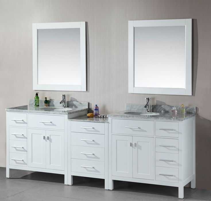 Avola 92 Inch Double Sink Bathroom Vanity White Finish
