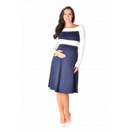 Classic cut blue and white maternity dress.
