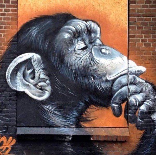"Streetart: new piece by SMOK ""Thinking"""