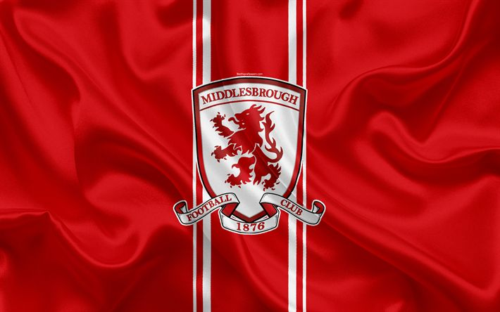 Download wallpapers Middlesbrough FC, silk flag, emblem, logo, 4k, Middlesbrough, UK, English football club, Football League Championship, Second League, football