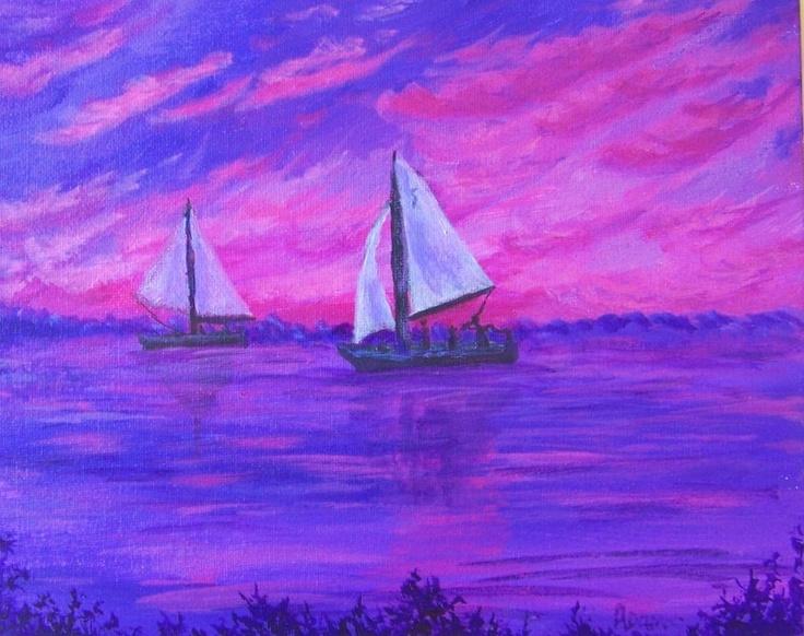 Sailboats Heading Home Sunset Sky Original Painting Pink Purple Pat Adams Art.