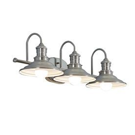 Allen + Roth Hainsbrook 3 Light 7.48 In Antique Pewter Cone Vanity Light  B10072