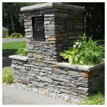Stone Mailbox Planter