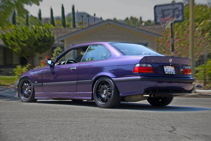 The booty, pre-spoiler and diffuser! She has come a long way since this! 1998 BMW M3 Techno Violet Coupe Purple Stance Low Slammed Racecar LTW Racing Fast Mtechnic Mpower Slicktop Catuned Goals Bavarian Motorsport Rare Want Need