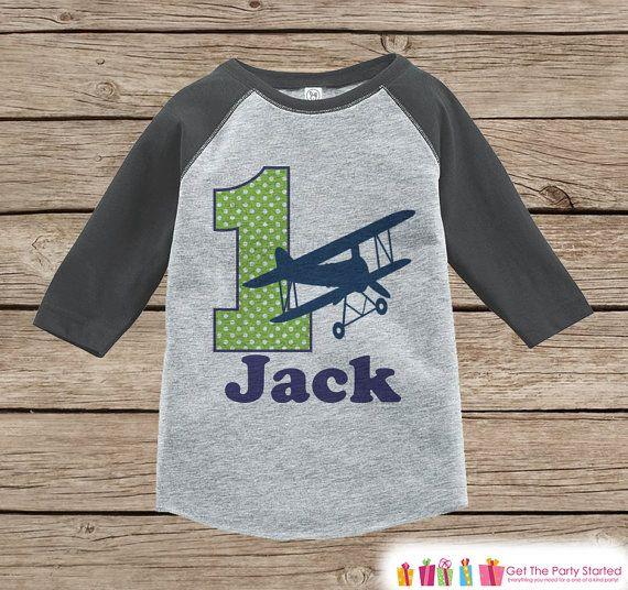 First Birthday Airplane Outfit - Boys 1st Birthday Onepiece or T-shirt - Biplane Grey Raglan Shirt - 1st Birthday - Boys Birthday Raglan Tee