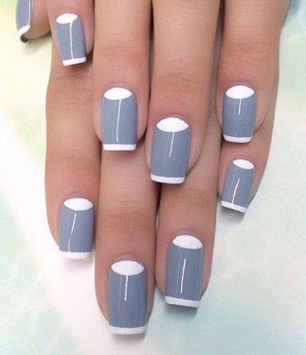 Gray is not normally a color for nail polish. But here, it works really well with a French tip and a half moon design. It's actually very crisp to look at.