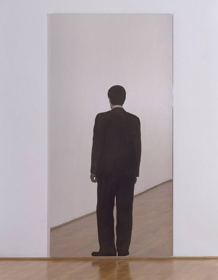 Michaelangelo Pistoletto - Standing Man, 1962-1982  silkscreen on on polished stainless steel, 250 x 125 cm