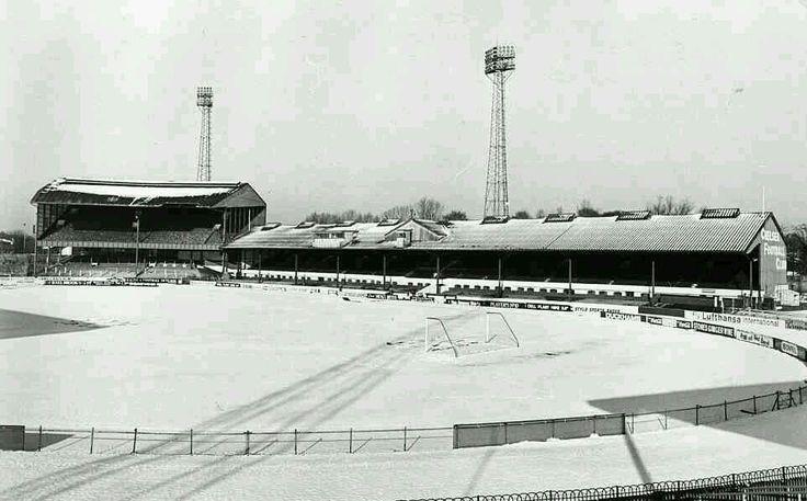 Stamford Bridge, Chelsea in the 1960s. Snow!