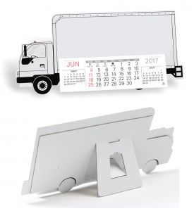 Product: 7D224 Desktop Truck Calendar, Delivery Truck Basic custom imprint setup & PDF proof included! Keep your company name on their desk all year long with our Delivery Truck cardboard desk calendar. Sturdy chipboard construction includes black trim and tires, a standard red imprint standard, 13-month calendar pad with easel back. Perfect promotional calendar for freight & trucking companies. Warwick / 426