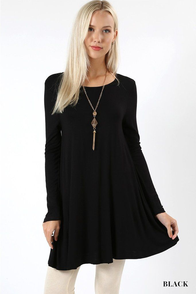 264386eda1c Tunic Top For Women Long Sleeve Shirt Swing Dress Solid Black: S/M/L – MomMe  and More