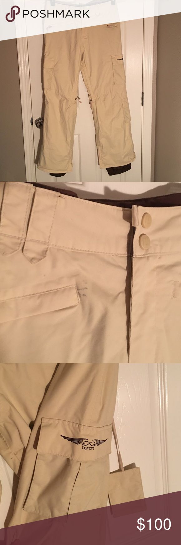 """Like new Burton snowboard pants These are in excellent condition aside form one small mark (shown in pic).  May come out with a wash.  Fully waterproof lined, zip vents and zippers to go over boots.  Multiple pockets and built in lift pass holder.  Please ask if any questions!  Make me an offer!  Inseam 31.3"""", waist 35"""". Burton Pants"""