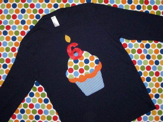 Navy Birthday Cupcake Kids Shirt by wigglesandgiggles1 on Etsy, $26.00