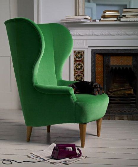 Beautiful #Home Decor   #emerald Green Wing Back Chair Sofaandstuff.com