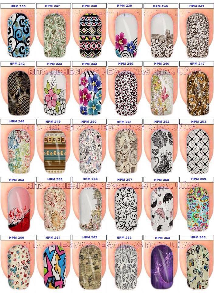Pegatinas para uñas, un nuevo estilo de decorar las uñas, unidad con 12 diseños , se aplica en cima del esmalte blanco semi seco y finaliza con un top coat, la decoración estará lista.