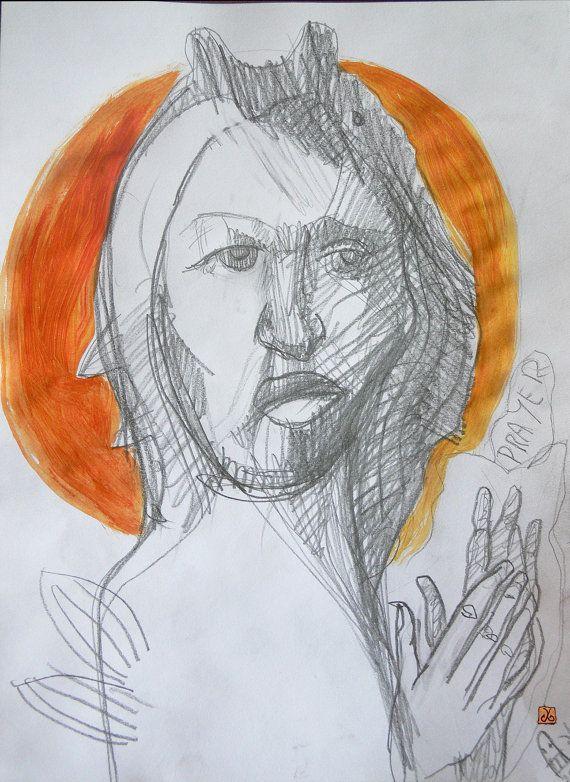 Jesus Prayer  By Alice Iordache Original Drawing