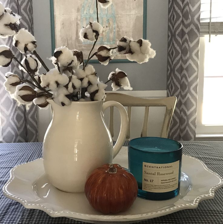 Cotton stems in white pitcher with a pumpkin gingham for Gingham decorating ideas