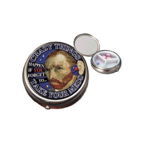 """Pillenbox """"Van Gogh"""" Een prachtige pillenbox met van Gogh's tekening erop om je medicijnen in te bewaren. #cadeaus voor mannen"""