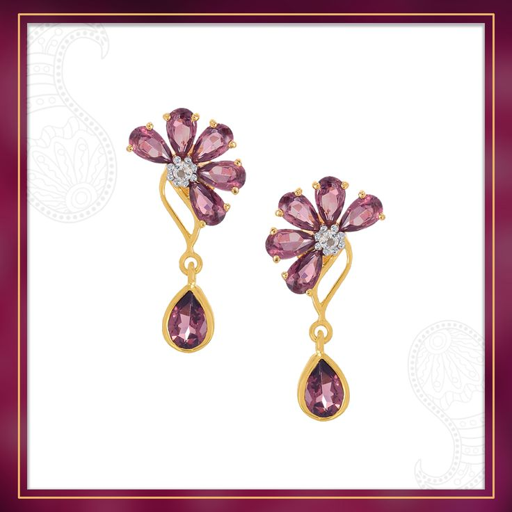 Garnet Earring made in Gold Plated Sterling Silver   Shipping across India