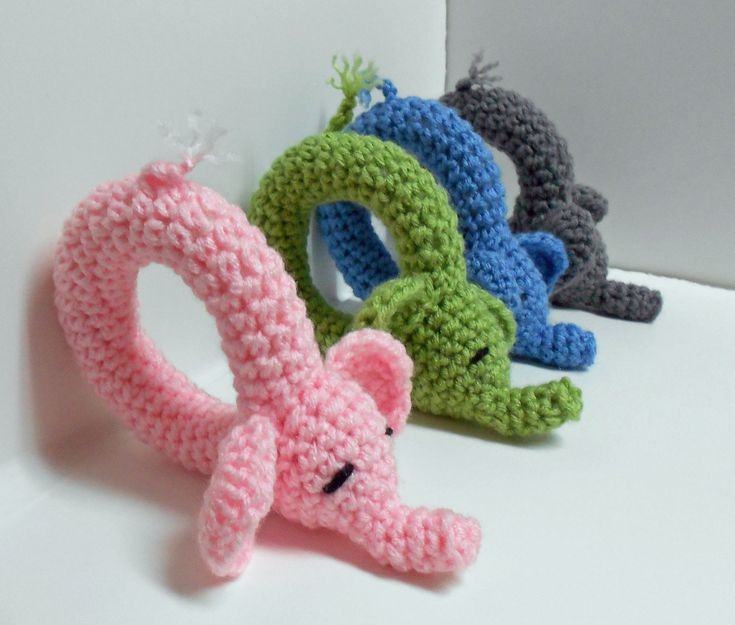 Elephant Rattle Crochet Pattern - shorten the snout and ears and you'd have a pig