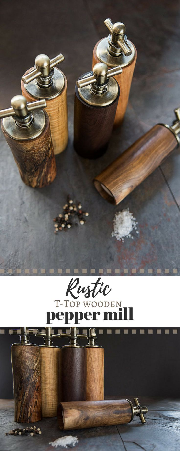 The perfect rustic kitchen accessory. I love this T-Top wooden pepper mill. #commissionlink #rustic #peppermill #wooden #kitchen #housewarminggift #grinder #giftideas