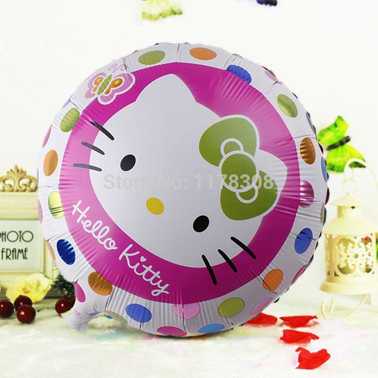 Шары 10 шт. мультфильм привет котенок кошка глобус детей 18 дюймов воздуха надувные фольги на день рождения ну вечеринку украшения поставки