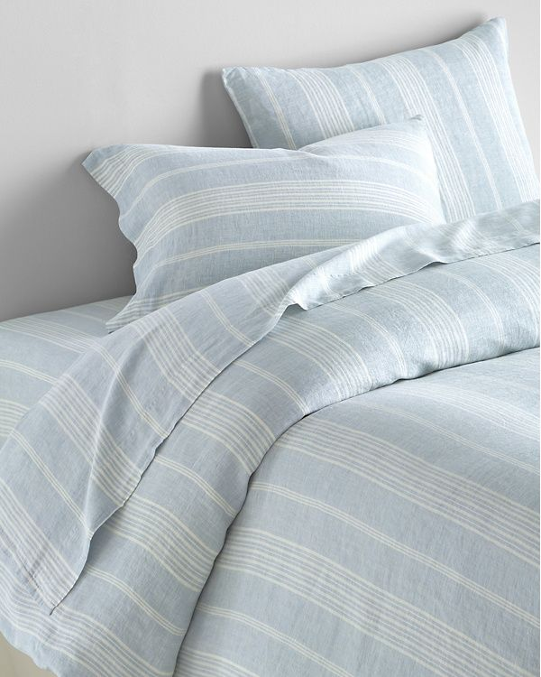 Stripe Relaxed Linen Bedding And Pillow Cover Garnet Hill Linen Bedding Stripe Bedding Pillow Covers